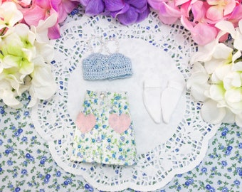 Pastel Summer Blue White Mint Green Floral Harajuku Hearts Bralette Ankle Socks Fitted Miniskirt Clothes Set - [ Unoa / Minifee / Slim MSD]