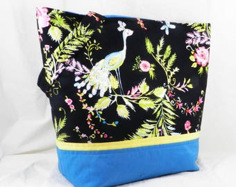 Library Bag, Large Handmade Tote, Dena Designs, Chinoiserie Chic, Birdsong Fabric, Black and Blue, Bird Fabric, Aviary Print