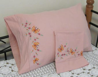 Vintage 1970s Dusty Rose Hand Embroidered Floral Butterfly Pillowcase Set Pair