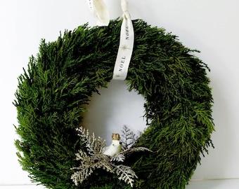 Preserved Cypress Christmas Wreath | Vintage Inspired Bird