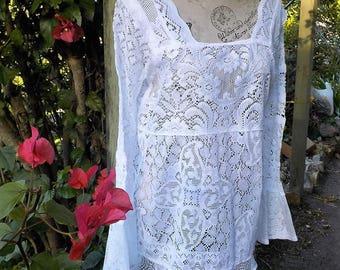 white lace vintage hippy style tunic - bohemian mod- romantic top - MINI dress - small