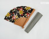 Black Japanese Kawaii fabric wooden hand fan - Yellow Sakura flowers - red gold fan - Souvenir from Spain - wooden hand fan
