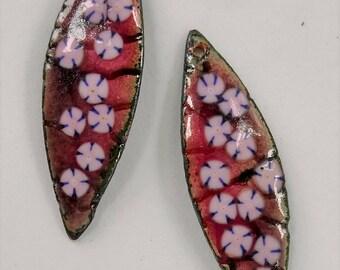 Enamel Jewelry Findings  Embossed WIllow Leaf Drop 2017 F-782