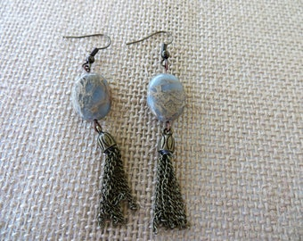 Impression Jasper Dangling Earrings With Gold Toned Chain Tassels