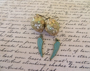 Soft Gold Toned Fancy Bead And Patina Aged Metal Wing Charm Dangling Earrings