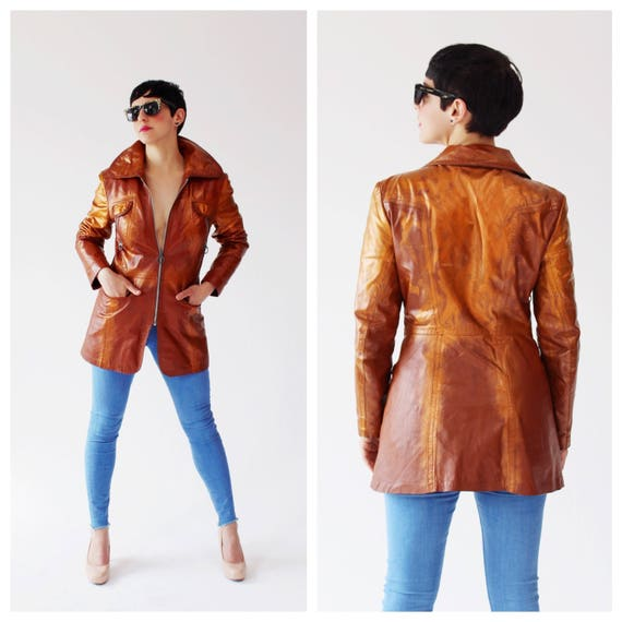 Vintage Metallic Gold Leather Jacket Womens S Slim Fit Red