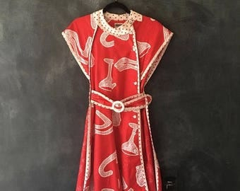 SALE 80s Jeanne Marc Red Mini Dress Wearable Art Printed Cotton Belted A Line Fit and Flare Dress Ladies XS/S