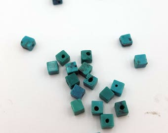 Turquoise Beads, Green Beads, Natural Gemstone Beads, Turquoise Cube Beads, Beads for Jewelry Making, Turquoise Bead, Cube Beads, Turquoise