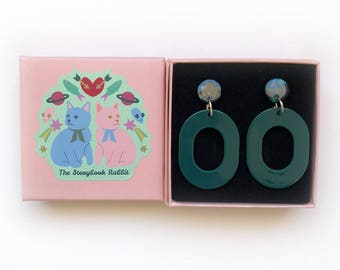 Small Marbled Dangle Stud Earrings - 50's Oval Large Dangles -Green