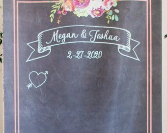 Wedding Backdrop for Photo Booth or Ceremony Decor, Chalkboard Style Personalized Banner Hanging Sign Wedding Back Drop (Item - BCB700)