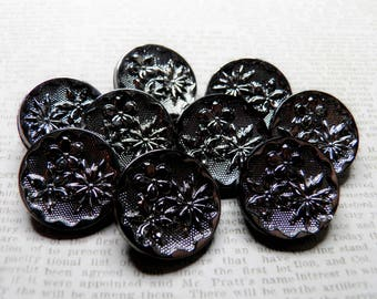 Vintage Black Glass Buttons Silver Luster