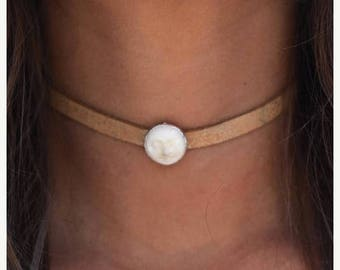 XMAS IN JULY Moon Leather Choker /// Man in the Moon