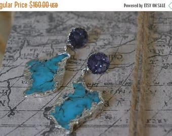 XMAS IN JULY Amethyst & Turquoise Earrings /// Gemstone Silver Dipped Earrings