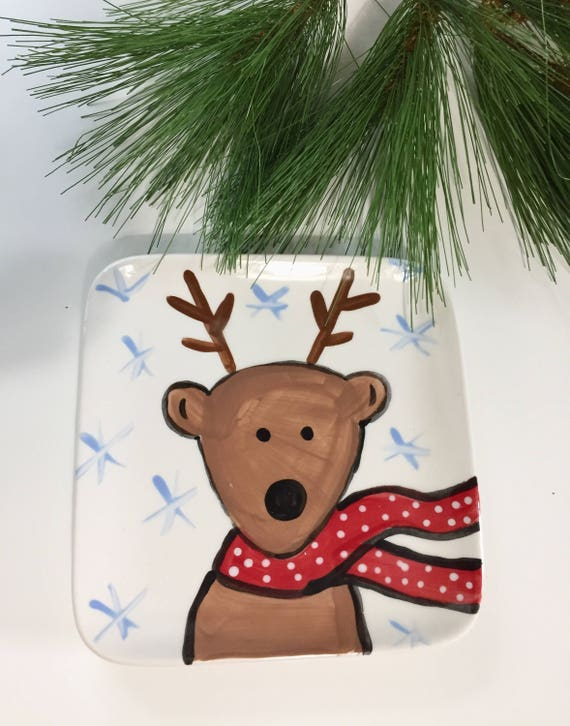 Whimsical, Reindeer, Christmas plate, woodland, reindeer salad plate, Christmas dessert plate, hand painted, cermaic, Christmas plate