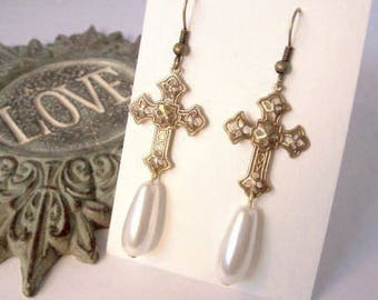 Gold Cross Earrings, Cross Dangles, Spiritual Jewelry, Gold & White Pearl, Beaded Jewelry, Fashion Accessory