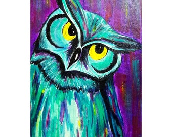 Owl - Colorful animals - Original artwork 11 x 17 high quality print