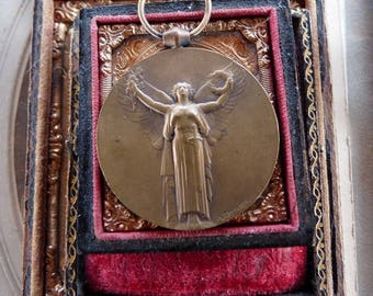 Antique French Lady Victory Medallion, Talisman for the Passionate Woman, offered by RusticGypsyCreations