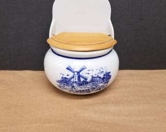 Vintage Delft Blue Salt Box
