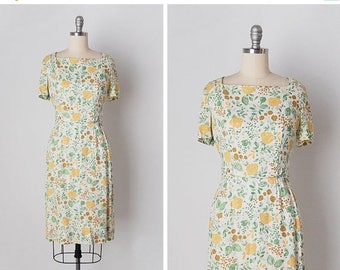 30% OFF SALE vintage 1950s dress / 50s linen dress / floral linen dress / Wildflower Medley dress