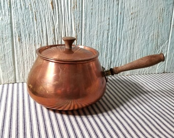 Retro Copper Fondue Pot, Copper Cooking Pot, Wood Handle Copper Pot, Copper Saucepan, Vintage Cooking Pan
