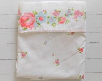 Vintage Full Flat Sheet  / Pink & Blue Floral / Vintage Linens