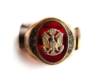 Vintage 14K Gold Fill Eagle Military Ring- Synthetic Ruby - Army Navy Marines Militaria War Memorabilia - Size 10 - Signed C&C Clark Coombs