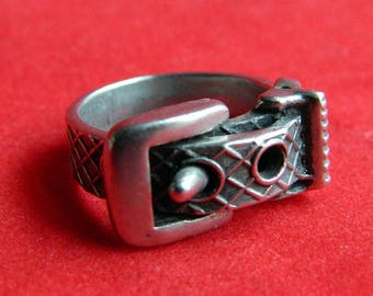Antique Victorian Sterling Silver Buckle Band Ring - Repousse - Friendship - Sweetheart - Promise - Eternity - Size 4 1/2