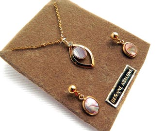 """Vintage Rolled Gold Genuine Abalone Shell Pendant Necklace & Earring Set - 16"""" Rolo Chain - Dangle Posts - Original Display Card - Signed NS"""
