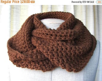 SALE Chocolate Brown Infinity Scarf Cowl in Soft Vegan Acrylic / Ready to ship gift