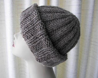Rustic 100% USA Farm WOOL Chunky Hand Knit Hat  Natural Gray Taupe/  Slouch knit beanie hat / USA Wool Knit Hat