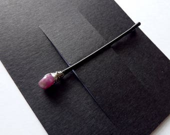 Ruby in Zoisite Bobby Pin - Pink Stone - Gemstone Bobby Pin