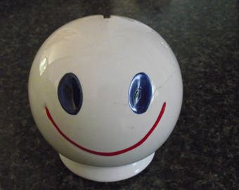 1970's McCoy Blue Eyed White Smiley Face Bank Get Happy Ceramic Hipster Mod Mid Century Hippie Collectible Cottage Chic Home Decor Save