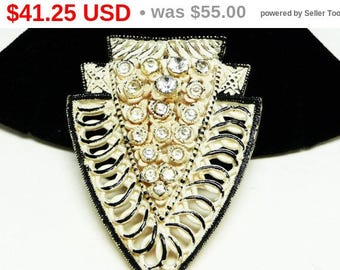 Art Deco Celluloid Brooch 1920's - 1930's Creamy White, Black Enamel & Clear Rhinestones - Rounded Triangle - Vintage Early Century Jewelry