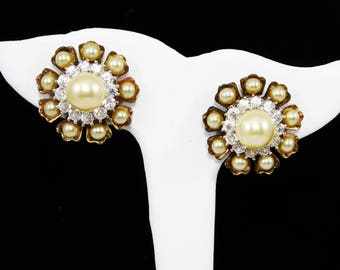 Sterling Silver Clip on Earrings,Gold Tone, Clear Rhinestones, Pearlescent White Beads, Signed Sterling, Vintage 1950s 1960s, Mid Century
