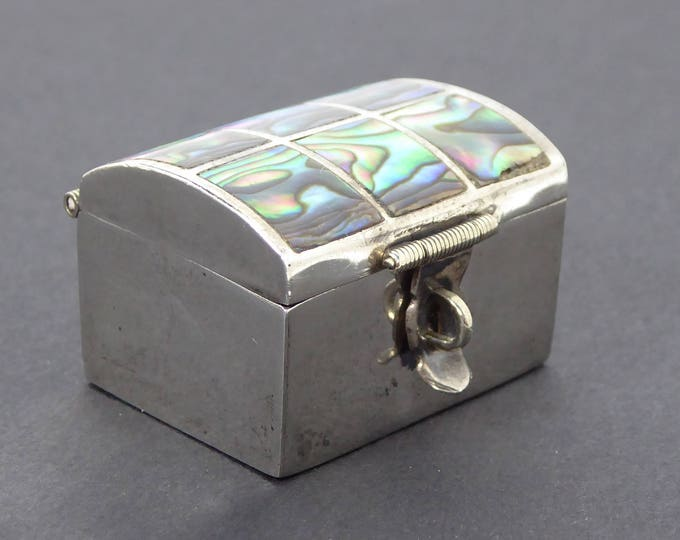 Sterling Silver & Abalone Trinket Box - Hinged Lid Pill Box - Lock Box Design - Vintage 1950's Mexican Silver Signed 925 Mexico CGR Eagle 2