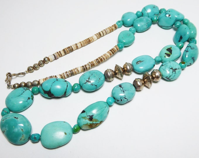 Turquoise Bead Necklace Native American Indian Navajo, Tuquoise with Quartz Matrix, Silver Bench Beads & Heishi Shells, Vintage 1970s NAI