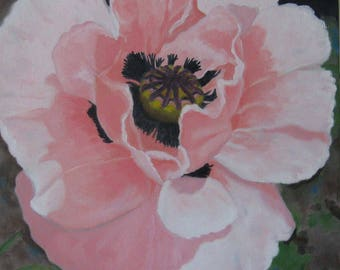 Poppy Oil Painting Pink Poppy Art Floral Oil Painting Poppy Wall Decor 12 X 12 Inch Poppy Art Gardeners Decor Country Decor Flower Lovers