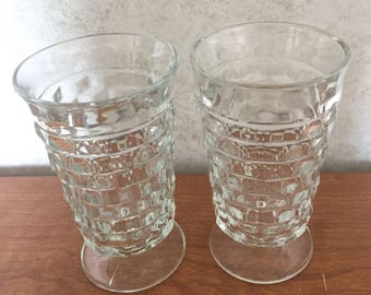 Whitehall Colony Cubist Clear Footed Ice Tea / Water Tumblers Two Indiana Glass