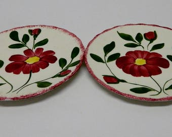 Blue Ridge Southern Potteries Bread & Butter Plates Nocturne Red Flowers Two