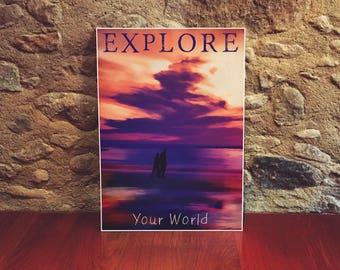 Explore Inspirational Art 12x18 Poster Art Print Colorful Wall Art Beach Art Sunset Sky Print Couples Gift