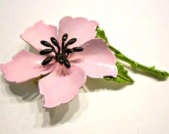 Vintage Pink Enamel Flower Brooch Pink Petals Vintage Jewelry Gift for Her Gift Idea under 15 Card Gift Bow Decoration