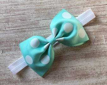 Aqua Polka Dot Tux Bow Band Headband