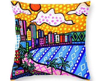 Honolulu Skyline Art Pillow -  Waikiki Beach Hawaii Artist Heather Galler Oahu Folk Art Decor Gift House Warming Souvenir Keepsake Memento