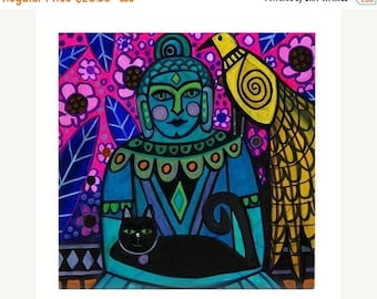 45% Off Today- Buddha Peacock Black Cat Art Tile Ceramic Coaster Print of painting by Heather Galler Abstract Portrait Lightworkers Ascensio