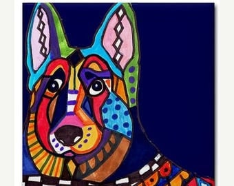 45% Off Today- German Shepherd art Tile Ceramic Coaster Mexican Folk Art Print of painting by Heather Galler Dog (HG476)