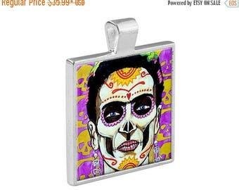 55% Off Today- Mexican Folk Art Jewelry - Day of the Dead Pendant Metal  Gift Art - DOD Necklace Charm Frida Kahlo Skeleton Sugar Skulls Veg