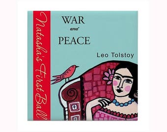 War and Peace Book Lover Art Tile by artist Heather Galler novel Russian author Leo Tolstoy literature classic