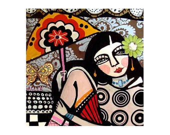 Flapper Girl Art Deco Ceramic Tile by Artist Heather Galler - Roaring 20's 1920's Paris Umberla Coaster Gift