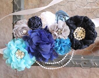 Blue Maternity Sash, Boy Maternity Sash, Maternity Sash, Flower Sash, Vintage Sash, Royal Blue, Baby Blue, Navy, Turquoise, White, Gray, RTS