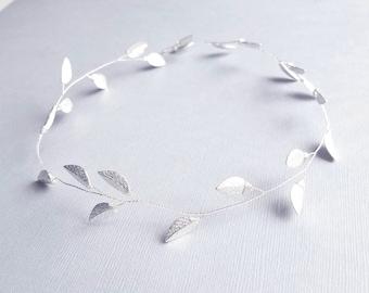 Silver Leaf Vine, Bridal Tiara, Wedding hairpiece, Silver Halo, Leaf Hair Vine, Leaf Hair Piece, Wedding Headpiece, Bridal Accessory